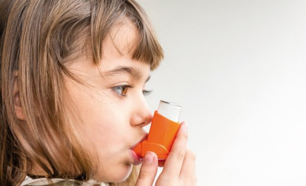 Seven Year Old Girl Breathing Asthmatic Medicine Healthcare Inha