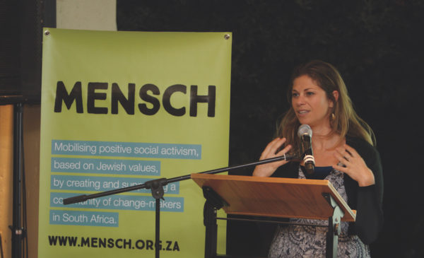 newMensch Founder and Executive Director Gina Flash speaking at the Mensch Johannesburg launch event, August 2016