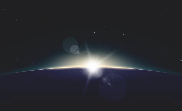 Horizontal poster of rising Sun on Earth. View from space with glowing on horizon and lens flare. Black space and dark night planet. Beginning of new day. Sun rays and glow.
